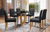 Mesa de Jantar Munique 1,60m com 6 cadeiras Ana Ypê/Preto/Veludo Preto - FdECOR - New Ceval