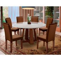 Mesa de Jantar Redonda Isabela com 6 Cadeiras Amanda New Ceval -