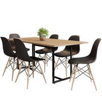 Mesa De Jantar Retangular 6 Cadeiras Eames Indy F02 Nature/Preto - Mpozenato -