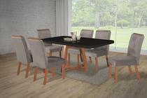 Mesa de Jantar Retangular Cabo Frio Com 6 Cadeiras Amendoa - Mega Móveis
