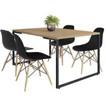 Mesa de Jantar Rivera Industrial Nature com 04 Cadeiras Eiffel Charles Eames Preto - Lyam Decor -