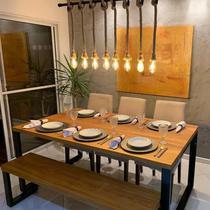 Mesa de Jantar Rustica em Madeira Maciça com Pés de Ferro Estilo Industrial 1,20 mts - Benoarte
