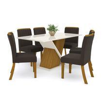 Mesa de Jantar Solus com 6 Cadeiras Tauá - Nature/Off White/ - Henn