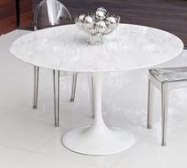 Mesa De Jantar Tulipa Saarinen Redonda 100 cm Mármore Branco Extra - Personal Moveis Design