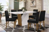 Mesa de Jantar Veneza 1,60m com 6 cadeiras Berlim Imbuia/OffWhite/Veludo Preto - FdECOR - New Ceval