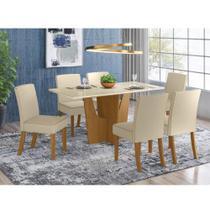 Mesa de Jantar Vértice 160cm 6 Cadeiras Maris - Nature/Off W - Henn