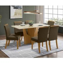 Mesa de Jantar Vértice 160cm 6 Cadeiras Vega - Nature/Off Wh - Henn