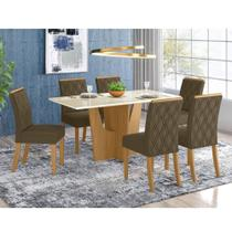 Mesa de Jantar Vértice 160cm 6 Cadeiras Vita - Nature/Off Wh - Henn