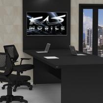 Mesa De Reunião 1.60x1.00 Com Painel de TV - AERO 40 - PRETO/PRETO - KASMOBILE -