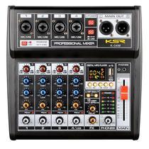 Mesa de Som 4 CANAIS INTERFACE COMPUTADOR KSR PRO K04M Bluetooth MP3 PHANTOM -