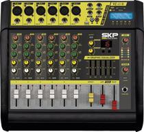 Mesa De Som Amplificada 6 Canais Skp Vz-60II Usb 1600W -