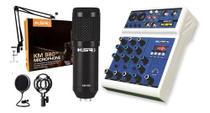 Mesa de Som Interface USB Bluetooth KTL4 + Microfone Condensador Km980 Kit KSR -