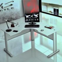 Mesa Delta 1.60x1.60 Para Escritório, Escrivaninha Compactta15 - KASMOBILE - CINZA CRISTAL -