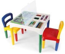 Mesa Didática Mesinha Infantil Poliplac 2 cadeiras 3 Adesivos -