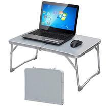 Mesa dobravel de aluminio com tampo mdf suporte para notebook cama camping e sofa vira maleta portat - Makeda