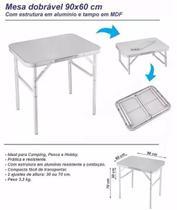 Mesa Dobrável em Alumínio com Tampo de MDF 90 x 60 cm - PALISAD-695838 -
