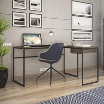 Mesa em L para Escritório 1 Gaveta Erica Móveis Brastubo Ameixa Negra/Preto -