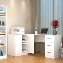 Mesa escritório em L 3 Gavetas e Armário - Branco - Appunto -