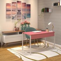 Mesa Escritório Escrivaninha Home Office Rosa 80x60 Rosé com Base Branca em Metal - E-Led Brasil