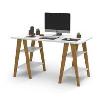 Mesa Escrivaninha Cavalete 1,35x0,66 Tampo 30mm 4 Prateleiras Branco pés em madeira OFERTAMO -