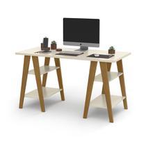 Mesa Escrivaninha Cavalete 1,35x0,66 Tampo 30mm 4 Prateleiras Off White pes em madeira OFERTAMO -