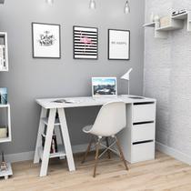 Mesa Escrivaninha Home Office 3 Gavetas 2 Prateleiras Branca - Appunto