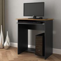 Mesa escrivaninha / mesa computador prática new notebook com suporte para teclado - preto/ freijó - COMPRE AQUI