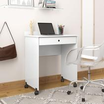 Mesa escrivaninha prisma notebook com rodízios e corrediça metalica - branco - Compre Aqui