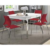 Mesa Extensível 1541 Branca Cromada com 4 Cadeiras 357 Vermelho Carraro -