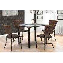 Mesa Famais Gramado 4 Cadeiras com Tampo de Vidro-Arg/Mar -