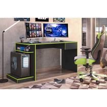 Mesa Gamer 1 Gaveta Rubi Belaflex Preto Fosco/Verde -