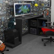 Mesa Gamer Bmg 4 Nichos Fosco Preto - Brv Móveis - Brv - móveis
