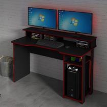 Mesa Gamer com Porta CPU Tecno Mobili Preto/Vermelho -