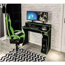 Mesa Gamer Computador Escrivaninha Preto e Verde Fremont - Politorno