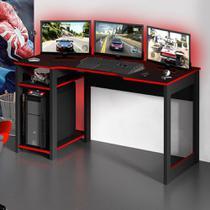 Mesa Gamer Destiny Ideal Para 3 Monitores Preto/vermelho - Tecno Mobili -