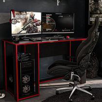 Mesa Gamer Escrivaninha Singapura 1 Nicho - Preto/vermelho - Politorno