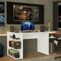 Mesa Gamer Madesa 9409 e Painel para TV até 50 Polegadas - Branco/Preto -