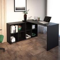 Mesa Home Office 8 Nichos Nero Artany Preto -
