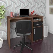 Mesa Home Office com Gaveta e Porta Hall Artany e Ipê e Preto -