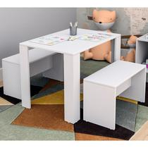 Mesa Infantil Com 02 Bancos Liv Kids CON3601 Branco APT Milani Store - Appunto
