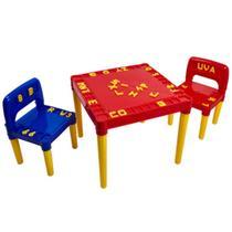 Mesa infantil com 2 cadeiras educativa para criancas tritec -
