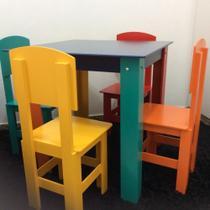 Mesa Infantil com 2 Cadeiras - Encosto Fechado - MIMOS MDF
