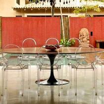 Mesa Jantar Oval Saarinen Madeira 220x100x75 - Decorafast