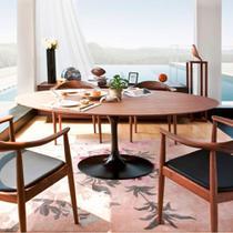 Mesa Jantar Oval Saarinen Madeira 244x137x75 - Decorafast
