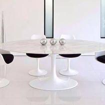 Mesa Jantar Oval Saarinen Mármore Carrara 160x90x73 - Decorafast