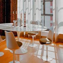 Mesa Jantar Oval Saarinen Mármore Carrara 198x122x73 - Decorafast