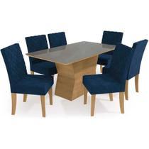Mesa Kappesberg Tília + 6 Cadeiras CAD133 Freijó/Vidro Inox/Veludo Azul Marinho -
