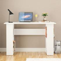 Mesa lapa para escritório com 4 nichos nas laterais - branco - Politorno