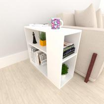 Mesa lateral para sofá, em mdf Branco - E-Nichos