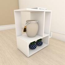 Mesa Lateral para sofá simples em mdf Branco - E-Nichos